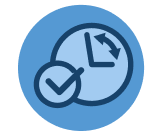 A blue checkmark in front of a clock with its arms moving
