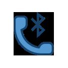 The Bluetooth logo next to a blue telephone receiver