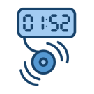 A digital alarm clock with sound blaring out
