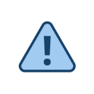 Blue triangle warning sign with exclamation point