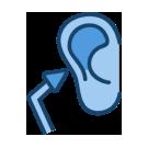 An otoscope pointing toward an ear