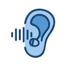 An ear with a hearing aid